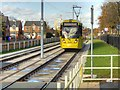 SJ8387 : Metrolink Airport Line Approaching Crossacres by David Dixon