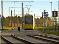 SJ8385 : Tram Approaching Shadowmoss by David Dixon