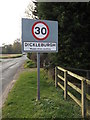 TM1782 : Dickleburgh Village name sign on Harleston Road by Adrian Cable