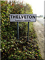 TM1681 : Thelveton Village Name sign on Norwich Road by Adrian Cable