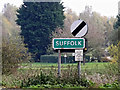 TM1378 : Suffolk County sign on the B1077 Stuston Road by Adrian Cable