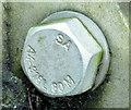 J3776 : Inscribed bolt, Sydenham bypass, Belfast (November 2014) by Albert Bridge