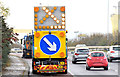 J3876 : Self-propelled road sign, Sydenham bypass, Belfast (November 2014) by Albert Bridge