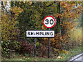 TM1583 : Shimpling Village Name sign on Station Road by Adrian Cable