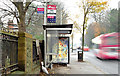 J4073 : Bus stop and shelter, Dundonald Cemetery, Belfast (November 2014) by Albert Bridge