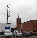 SU5290 : Communications tower and fire station tower in Didcot by Jaggery