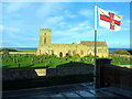 NU1734 : St Aidan's Church from viewing gallery of Grace Darling Museum by Andrew Curtis