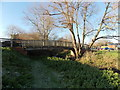ST8026 : River Stour footbridge in Gillingham by Jaggery