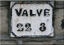 SD9927 : Water main marker plate, Hebden Bridge by Humphrey Bolton