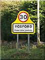 TM3968 : Yoxford Village Name sign on the A12 Main Road by Adrian Cable