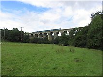 SJ2837 : Train crossing Chirk Railway Viaduct over Ceiriog Valley by Colin Park