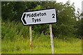 NZ2208 : Sign to Middleton Tyas, south of Barton by Christopher Hilton
