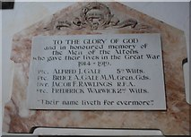 SU1062 : St. Mary, Alton Barnes: memorial (d) by Basher Eyre