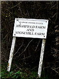 TL2055 : Highfield Farm sign by Adrian Cable