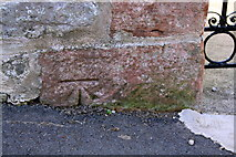 NY6820 : Benchmark on Banks Lane wall by Roger Templeman