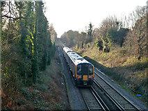 SU4808 : Train between Bursledon and Hamble by Robin Webster