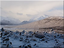 NH1804 : Cairns at the viewpoint over Loch Loyne by sylvia duckworth