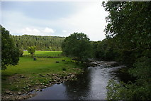 NY7962 : River Allen: view upstream from the footbridge at Plankey Mill by Christopher Hilton