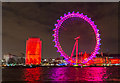 TQ3079 : London Eye in Red, London SE1 by Christine Matthews