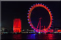 TQ3079 : London Eye in Red, Yellow and Blue, London SE1 by Christine Matthews