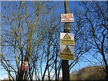 SJ8149 : Apedale Country Park: plethora of notices at Burley Pools by Jonathan Hutchins