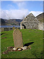 NO4380 : Ruined kirk and graveyard by Loch Lee by Karl and Ali