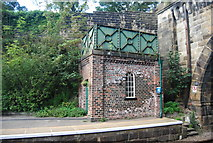 SE3457 : Water tank, Knaresborough Station by N Chadwick