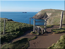 SW8576 : Trevose Head: a stile over nothing by Chris Downer