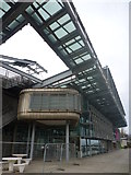 NZ4057 : Sunderland Architecture : Walking Pod Trapped Under The Canopy of The National Glass Centre by Richard West