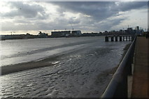 TQ4179 : View along the beach west of the Thames Barrier from Thames Barrier Park by Robert Lamb