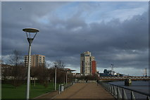 TQ4179 : View of Meadow Court, Parkside Court and Waterside Heights from Thames Barrier Park #2 by Robert Lamb