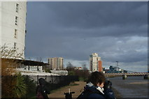 TQ4179 : View of Meadow Court, Parkside Court and Waterside Heights from Thames Barrier Park #3 by Robert Lamb