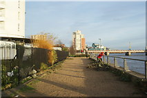 TQ4179 : View of Meadow Court, Parkside Court and Waterside Heights from Thames Barrier Park #5 by Robert Lamb