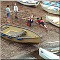 SX9372 : Children entertaining themselves on the back beach, Teignmouth by Robin Stott