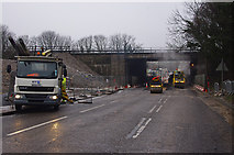 SD4964 : M6 Junction 34 road works by Ian Taylor