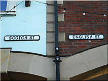 NY4055 : Scotch Street and English Street signs by Thomas Nugent