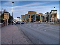 SJ8196 : Salford Quays, Trafford Road by David Dixon