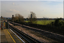 TQ1687 : Northwick Park station: view south-east towards Wembley stadium by Christopher Hilton