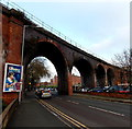 SO8455 : South side of a long viaduct, Worcester by Jaggery