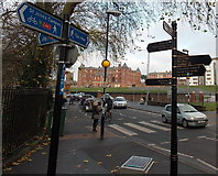 SO8455 : Many sign arms, Croft Road, Worcester by Jaggery