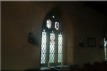 ST5906 : Oil lamps on wall, Melbury Bubb Church by Becky Williamson
