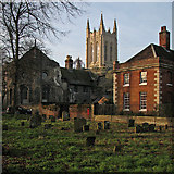TL8564 : Bury St Edmunds: January sunlight on the Cathedral tower by John Sutton