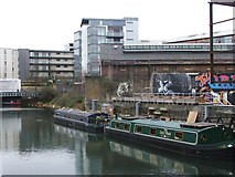 TQ3783 : Barges on the River Lea by Chris Whippet