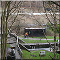 SE2536 : Cycling past Kirkstall Forge Locks by Rich Tea