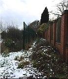 SJ8545 : Hartshill: footpath boundary by Jonathan Hutchins