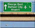 J3775 : City Airport advance direction sign, Sydenham bypass, Belfast (January 2015) by Albert Bridge