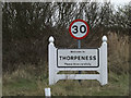 TM4658 : Thorpeness Village Name sign on Thorpe Road by Adrian Cable