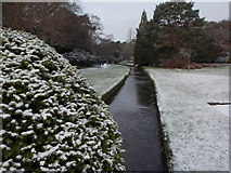SZ0891 : Bournemouth: upstream along the snowy Central Gardens by Chris Downer