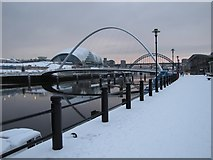 NZ2564 : Gateshead Millennium Bridge in the Snow by Andrew Tryon