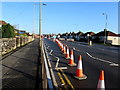 ST3090 : Coned-off section of Malpas Road, Newport by Jaggery